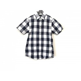 【中古】 ヴィクトリノックス VICTORINOX 半袖シャツ サイズS メンズ 白 ネイビー グレー チェック柄