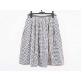【中古】 マーガレットハウエル MargaretHowell スカート サイズ3 L レディース 白 黒 チェック柄