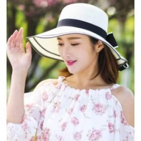 送料無料 日焼け止めハット レディース 帽子麦わら折りたたみ紫外線対策リボン飾りカジュアルハット マウンテンハット つば広ハット