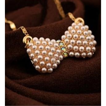 リボン付き 無地 ダイヤモンド嵌め 人気満々 写真と同じ ネックレス