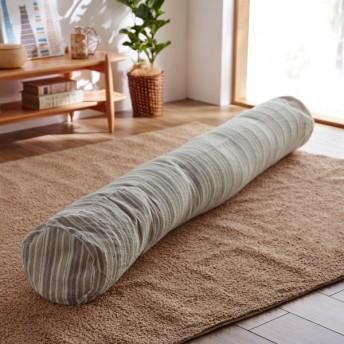 衣類収納袋 圧縮袋 綿100%しじら織りのしゃりさら抱き枕になる布団収納袋 カラー 「ベージュ」