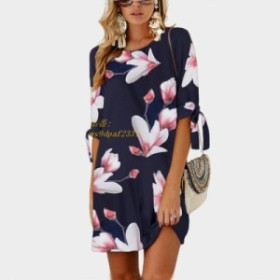 5XL ビッグサイズ 2019 新夏ファッション女性服カジュアルヴィンテージハーフスリーブフラワープリントドレスルースプラスサイズストレー