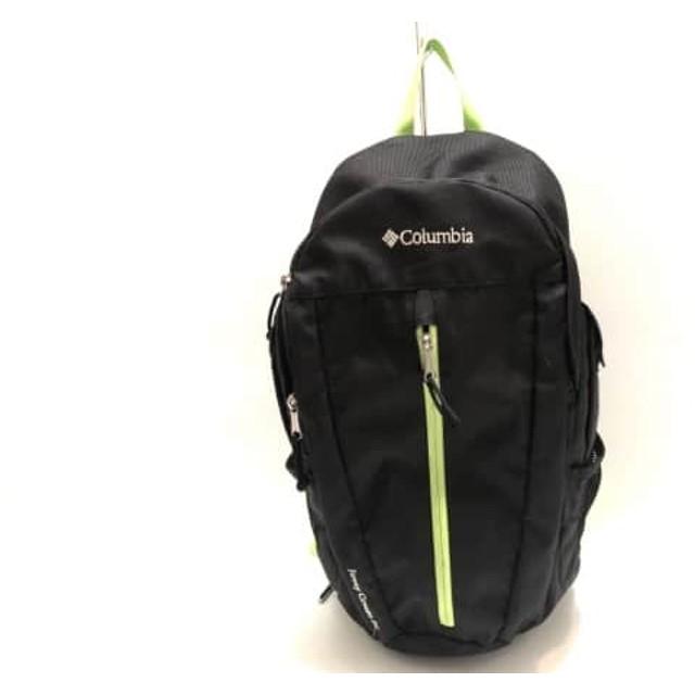 【中古】 コロンビア columbia リュックサック 黒 ライトグリーン ナイロン