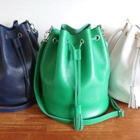 選べるカラー20色 レザーショルダーバッグ 巾着 受注製作 UB-08