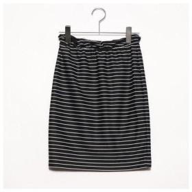 プライベートビーチ privatebeach リップルペンシルスカート【ウエストゴム】 (ブラック×ホワイト)