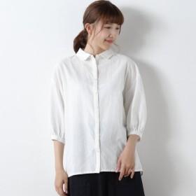シャツ ブラウス レディース 着回し易いコットンリネン丸襟シャツ 「オフホワイト」
