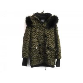 【中古】 スライ SLY コート サイズ2 M レディース カーキ 黒 冬物