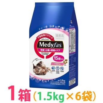 ◆《お得1箱(ケース)6袋セット》猫 キャットフード シニア ペットライン メディファス 15歳から チキン味 1.5kg 腎臓・心臓ケア