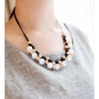 クリスタル ファッション ペンダント パール ダイヤモンド嵌め 鎖骨 合わせやすい ネックレス
