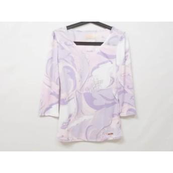 【中古】 レディ Rady 七分袖Tシャツ サイズf F レディース 美品 ピンク パープル 白