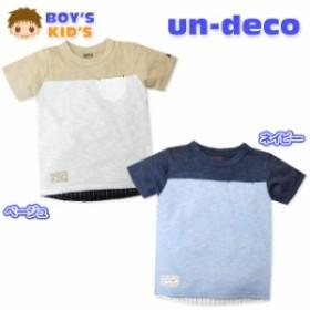 子供服 男の子 Tシャツ 半袖 スラブ天竺 布帛 タグ装飾 男児 キッズ【メール便OK】