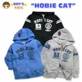 【男児キッズ】【パーカー】HOBIE CAT デザインロゴワッペン付き 袖ライン入長袖ジップパーカー【メール便不可】