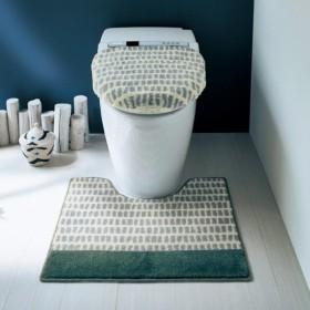 トイレマット北欧調デザインの清潔仕様のトイレマット・フタカバー(単品・セット) 「アイボリー」