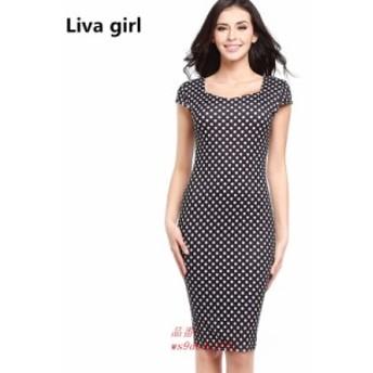 高品質 ファッション夏女性ドレスセクシーなスリムドットプリント羽オフィスドレス作業ボディコン鉛筆ミディドレスvestidosローブ