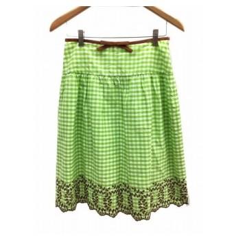 49アベニュー ジュンコシマダ 49AV. junko shimada スカート フレア ひざ丈 スカラップ チェック 刺繍 リボン38 黄緑 白 ホ