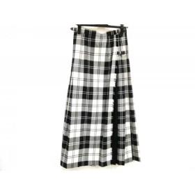 【中古】 オニール O'NEIL ロングスカート サイズ42 L レディース 黒 白 プリーツ