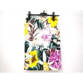 【中古】 ソブ ダブルスタンダード スカート サイズ36 S レディース 白 ダークグリーン マルチ 花柄