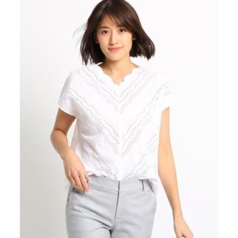 INDIVI / インディヴィ [S]【WEB限定/ハンドウォッシュ】アイレットレースシャツ