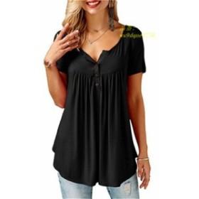 新 2019 夏トップスファッション 女性 半袖 Tシャツルーズ黒 Tシャツファム Tシャツプラスサイズ 綿 tシャツトップ 2XL
