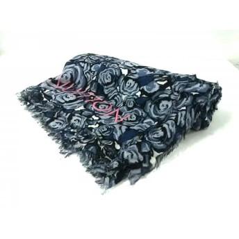 【中古】 ルイヴィトン ストール(ショール) エトール・ロックンローゼス M70474 グレー ネイビー 黒