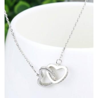 新作 簡約 ダブルハート 鎖骨チェイン ダイヤモンド嵌め 合わせやすい ペンダント 女性 ネックレス