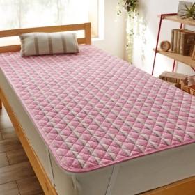 布団カバー シーツ 敷きパッド パッドシーツ 綿のさらぽこ敷きパッド 「ピンク」