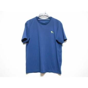 【中古】 ノースフェイス THE NORTH FACE 半袖Tシャツ サイズL メンズ ネイビー イエロー