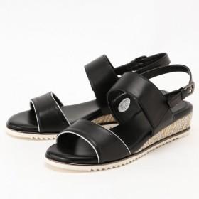 サンダル ミュール レディース ミュール サンダル 軽量・屈曲性が良くソフトな履き心地◎本革ダブルベルトサンダル 「ブラック」