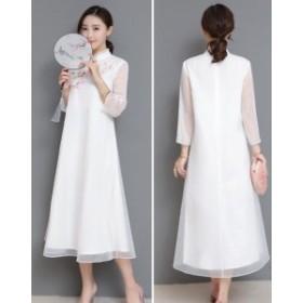 セール レディース ワンピースドレス 中国風 チャイナ風 ゆったり ボタン ナチュラル エスニックリネン ふんわり 大きいサイズ