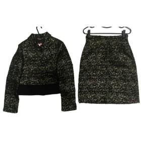 【中古】 マックスマーラスタジオ スカートスーツ サイズ40 M レディース 美品 黒 ゴールド