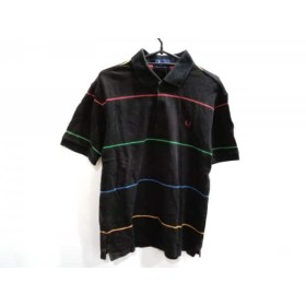 【中古】 フレッドペリー FRED PERRY 半袖ポロシャツ サイズS メンズ 黒 レッド マルチ ボーダー
