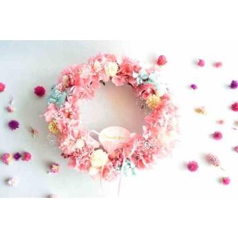 母の日に贈りたい ピンクのアジサイのリース ドライフラワー
