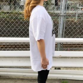 Tシャツ - SHEENA バックデザイン転写プリントBIG-Tシャツ 春 夏 Tシャツ カットソー トップス プリント ロゴ 転写 フォト BIG ルーズ オーバー 背中開き ストリート ダンス スポーツMIX