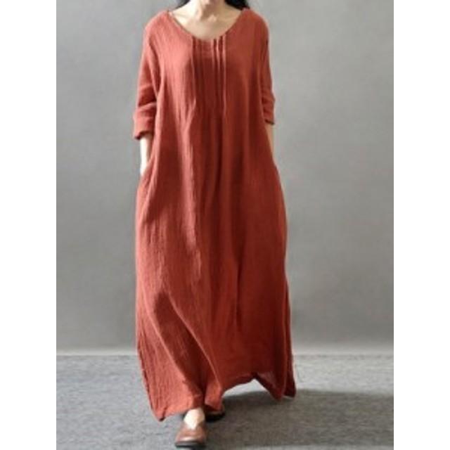 簡約 Vネック 長袖 ゆったり ロング丈 合わせやすい レトロ 綿麻 カジュアルワンピース