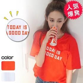 Tシャツ カットソー 半袖Tシャツ トップス 韓国ファッション 半袖 シンプルライン オリジナルロゴTシャツ レディーストップス チュニック ゆったり 大きいサイズ レディース Tシャツ ロゴプリント