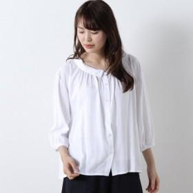 シャツ ブラウス レディース リネンレーヨン素材のナチュラルなロールカラーシャツ 「オフホワイト」