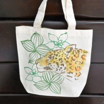 ミニトートバッグ 両面手描き 猫科 ヒョウ 横顔アップ サブバッグ・エコバッグ・ランチバッグ