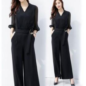 オールインワン パンツドレス レディース ワイドパンツ 七分袖 ロング丈 Vネック パンツドレス かっこいいパンツドレス 黒 ブラック