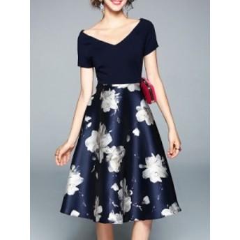 新しい レディース エレガントドレス Vネック 切り替え 大振裾 プリント ワンピース 花 柄 ワンピース ロング ワンピース