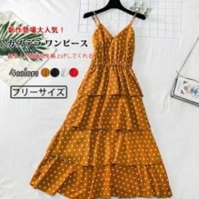 カステラ ワンピース レディース ドットワンピ 着痩せ 体型カバー ロングワンピース 夏衣装