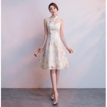 着痩せ チャイナドレス 優雅 キャバドレス 刺繍 立ち襟 パーティードレス お呼ばれドレス フェミニン 発表会 謝恩会 誕生日 ファスナー