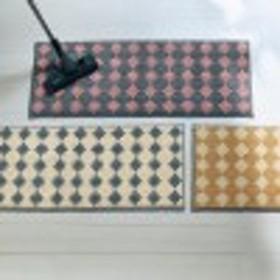 汚れが落ちやすい糸を使った北欧調デザインのずれない床ピタキッチンマット[日本製]