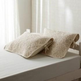リネン混ウォッシュキルト枕パッド2枚セット刺繍のようなお花畑