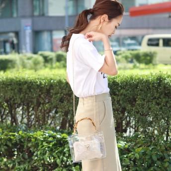 ハンドバッグ - REAL STYLE バンブーハンドル 2way クリアバッグ レディース 鞄 かばん カバン バッグ ハンドバッグ ショルダーバッグ 手提げバッグクリア素材 透明バッグ ビニールバッグ 斜めがけ 肩掛け 異素材 スケルトン 透明 韓国ファッション