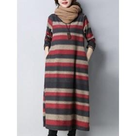 秋と冬にぴったり 暖かい 女性 ワンピース ラウンドネック 長袖 サイドポケット ストライプ柄 ルーズ 合わせやすい カジュアルワンピース
