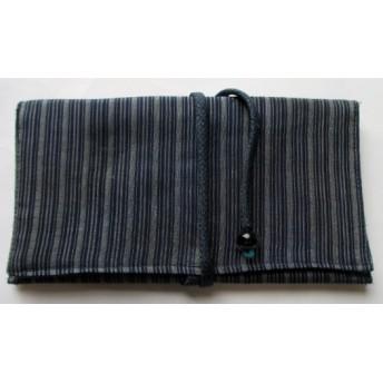送料無料 細縞の着物で作った和風財布・ポーチ 4230