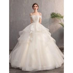 大人気 オフショルダー 白 ウエディングドレス 二次会 花嫁 ワンピース ドレス ロングドレス パーティードレス 送信 白ドレス ワンピース