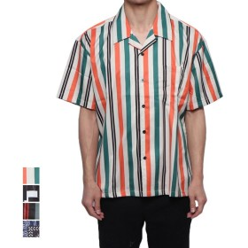 シャツ - Style Block MEN シャツ 開襟シャツ 半袖 オープンカラーシャツ カジュアルシャツ ストライプ柄 ペイズリー柄 幾何学 トップス メンズ グリーンネイビー レッド ホワイト 夏先行