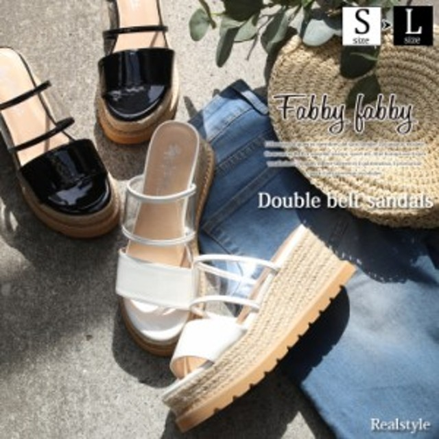 311d5cfd625fe1 ウェッジソール 厚底 ダブルベルト サンダル レディース 靴 くつ シューズ エスパドリーユ ヒール クリアサンダル 透明 ハイヒール
