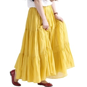[マルイ] 大きいサイズ レディース コットン ティアード スカート ロング マキシ ウエスト ゴム フリル/ゴールドジャパン(大きいサイズ)(GOLDJAPAN)